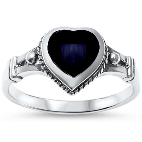 Black Onyx Heart Celtic .925 Sterling Silver Ring Sizes 5-10