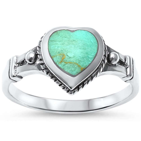 Green Turquoise Heart Celtic .925 Sterling Silver Ring Sizes 5-10