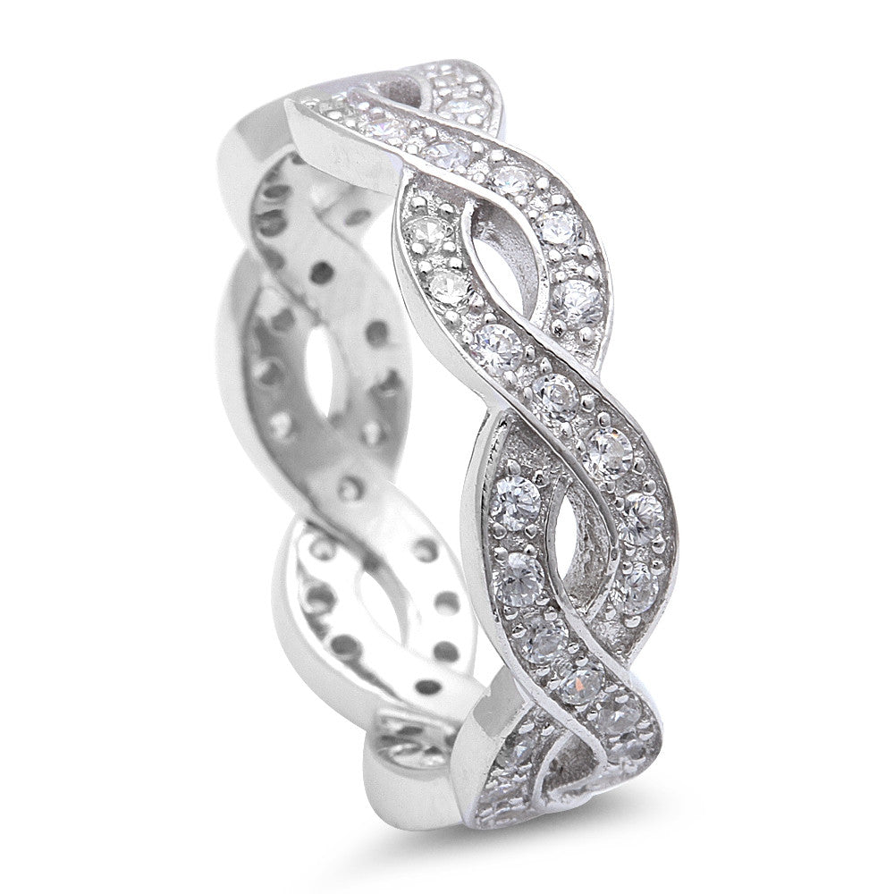 Beautiful Cz Infinity Design .925 Sterling Silver Ring Sizes 5-10