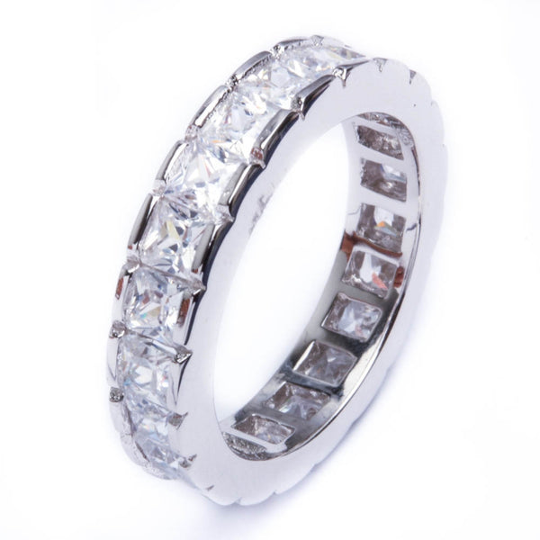 2Ct Princess Cut Cz Band .925 Sterling Silver Ring Sizes 5-9