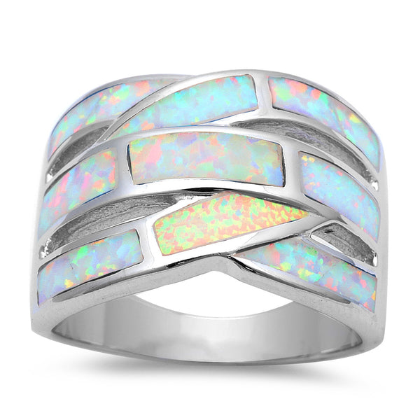 BEST SELLER NEW FASHION WHITE FIRE OPAL BAND .925 Sterling Silver Ring Sizes 5-10