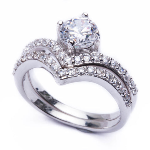1.50ct Round CZ 2 Rings Engagement Set .925 Sterling Silver Ring Sizes 5-9