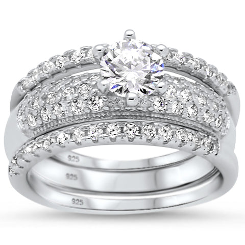 1.50ct Round CZ 3 Rings Wedding Set .925 Sterling Silver Ring Sizes 5-10