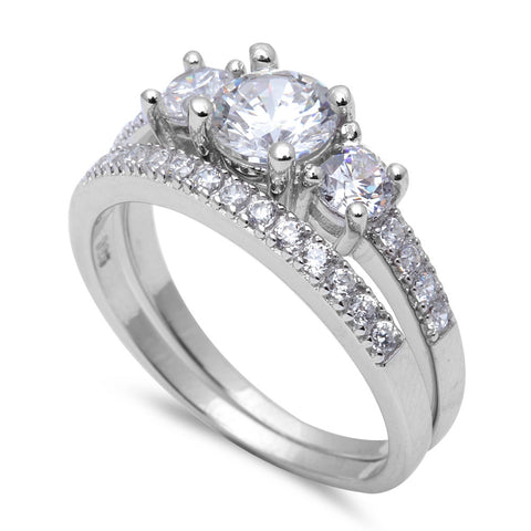 2ct 3 Round CZ Stone Engagement Set .925 Sterling Silver Ring Sizes 5-10