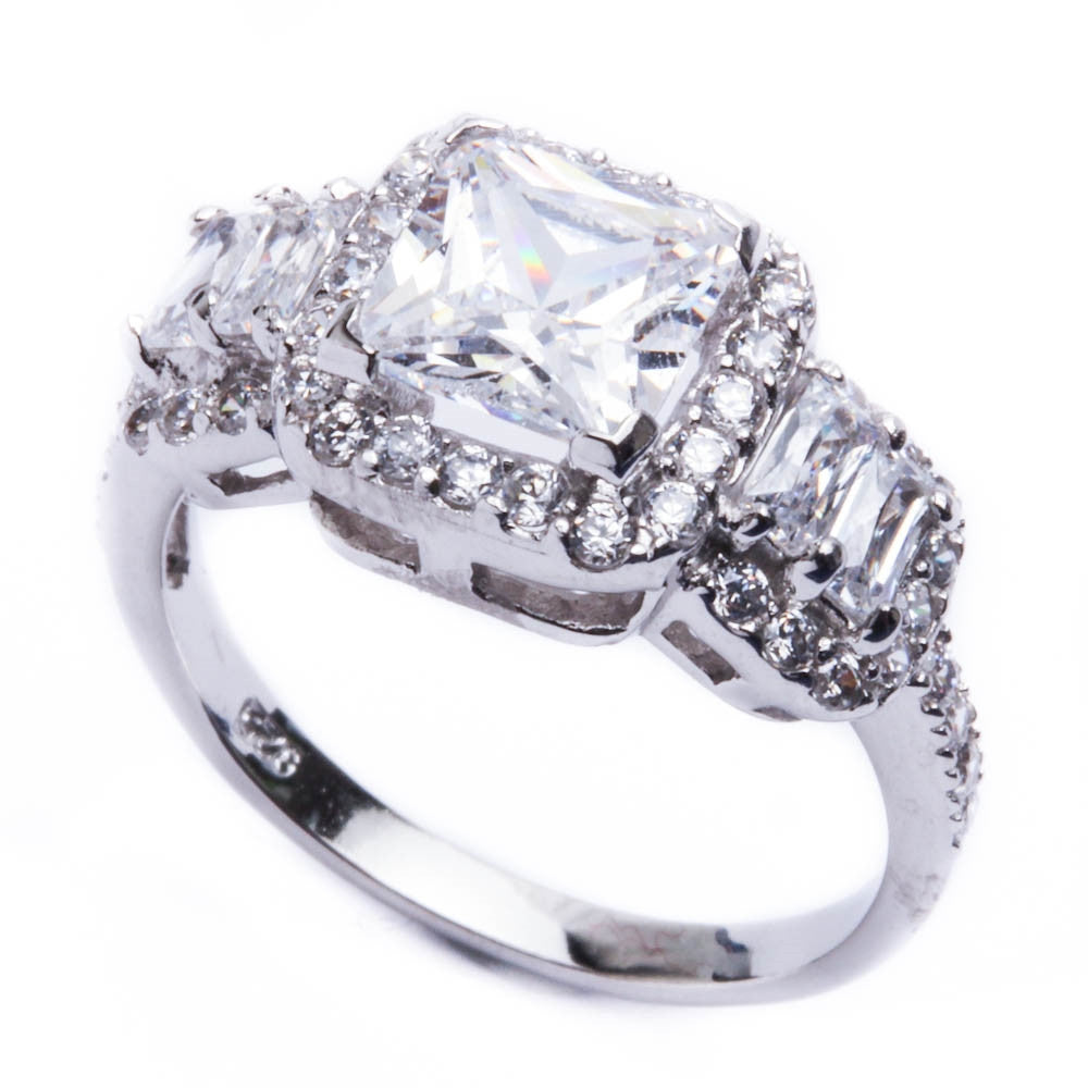 2ct Princess & Radiant Cut CZ Engagement .925 Sterling Silver Ring Sizes 6-9