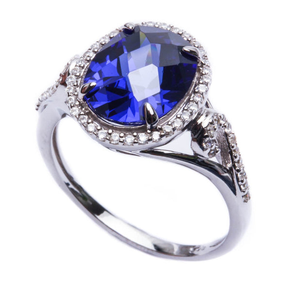 7ct Halo Style Tanzanite CZ .925 Sterling Silver Ring Sizes 5-9