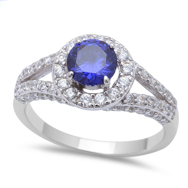 2ct Halo Style Tanzanite CZ .925 Sterling Silver Ring Sizes 5-10