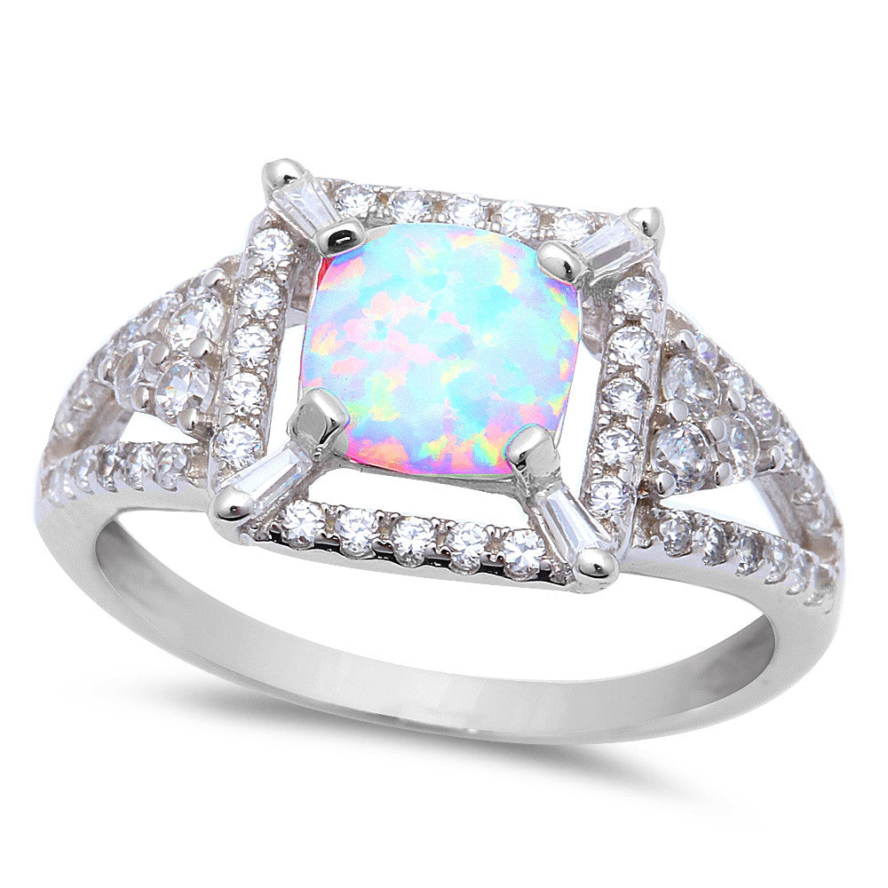 White Fire Opal CZ Fashion .925 Sterling Silver Ring Sizes 6-9