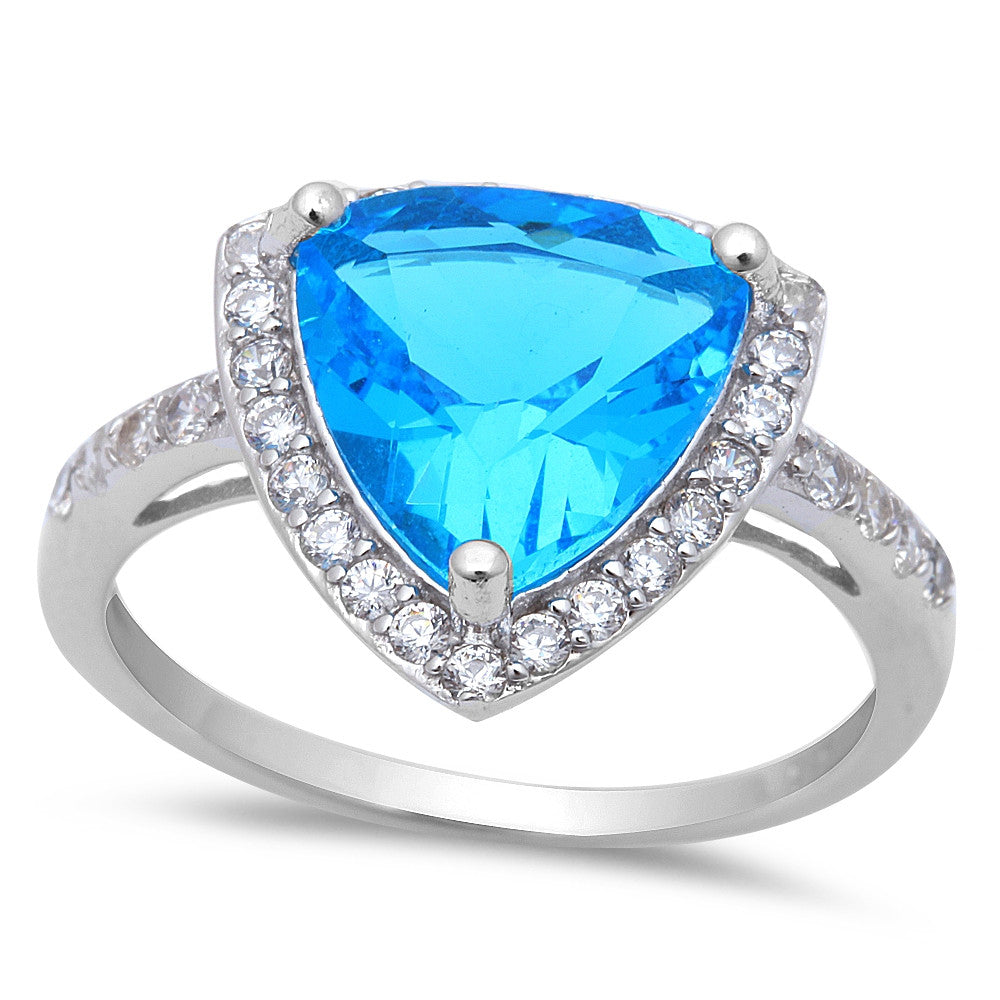 5.50ct Trillion Cut Blue Topaz & CZ .925 Sterling Silver Ring Sizes 5-9