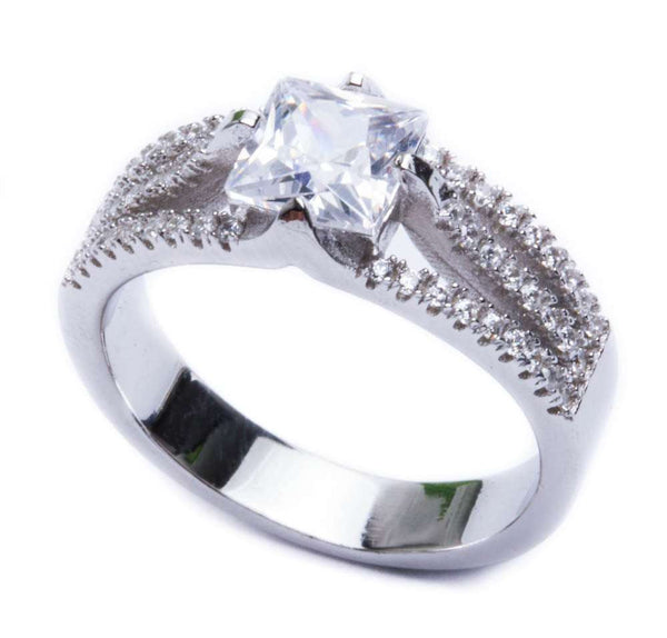 2.50ct Square & Cz .925 Sterling Silver Ring Sizes 5-9