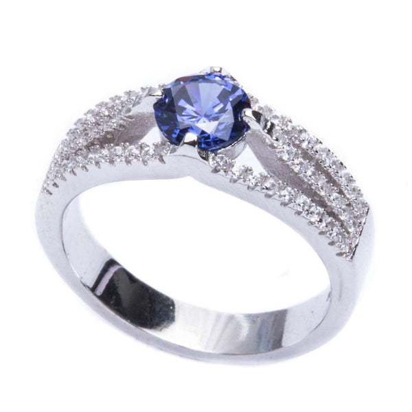 1.50ct Round Tanzanite & Cz .925 Sterling Silver Ring Sizes 5-9