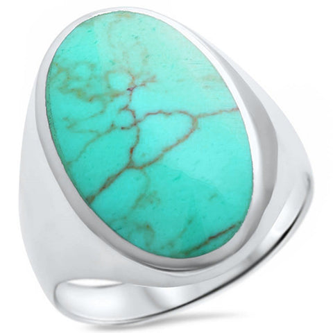 Green Turquoise  .925 Sterling Silver Ring Sizes 5-10