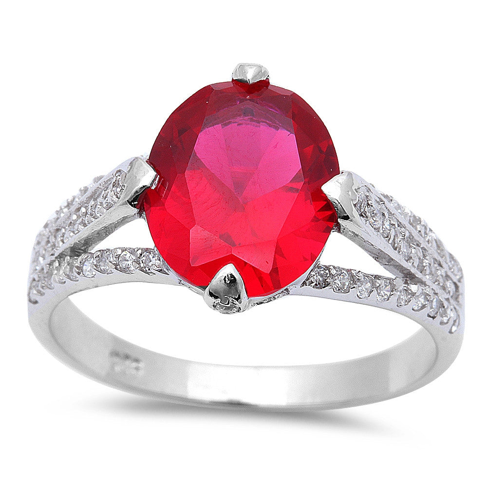 .925 Sterling Silver 4ct Oval Cut Ruby & Cz Fashion Ring Sizes 5-10