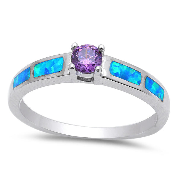 Round Amethyst & Blue Opal .925 Sterling Silver Ring Sizes 4-10