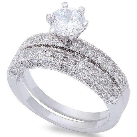 1.50CT Round & Pave Cz Wedding Bridal Set .925 Sterling Silver Ring Sizes 5-9