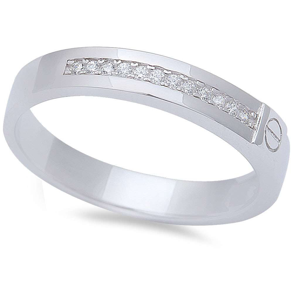 Men's CZ Wedding Engagement Fashion Band .925 Sterling Silver Ring Sizes 8-12