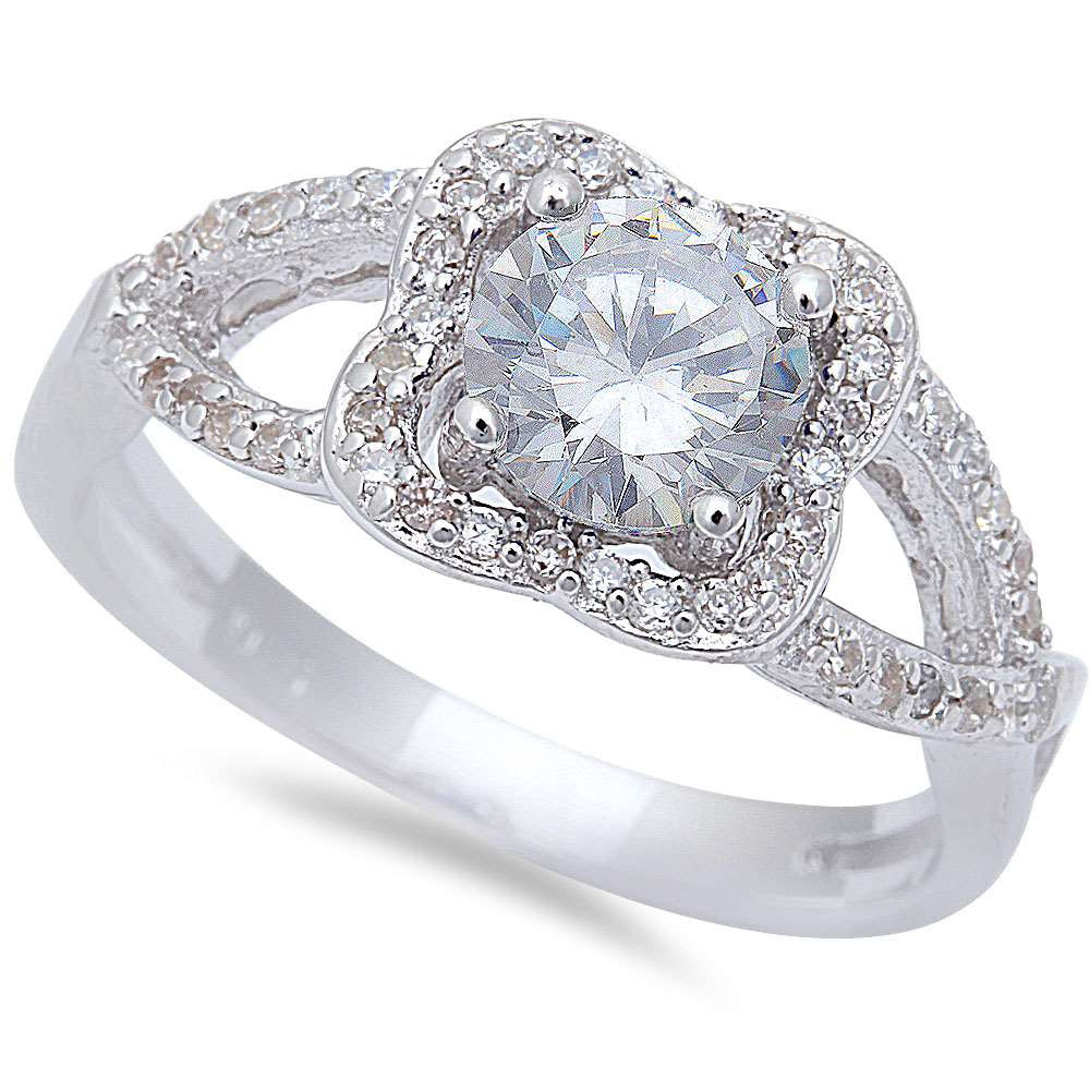Halo Style Cz .925 Sterling Silver Ring Sizes 6-9
