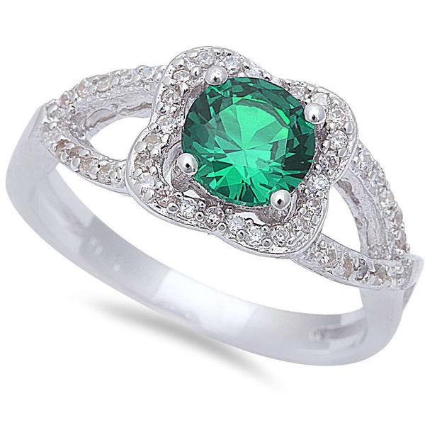 Halo Style Green Emerald & Cz .925 Sterling Silver Ring Sizes 6-9