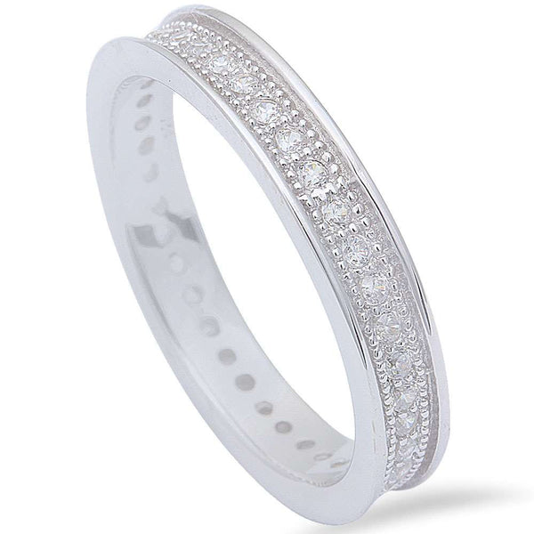 1CT Pave Cz Fashion Engagement Band .925 Sterling Silver Ring Sizes 8-11