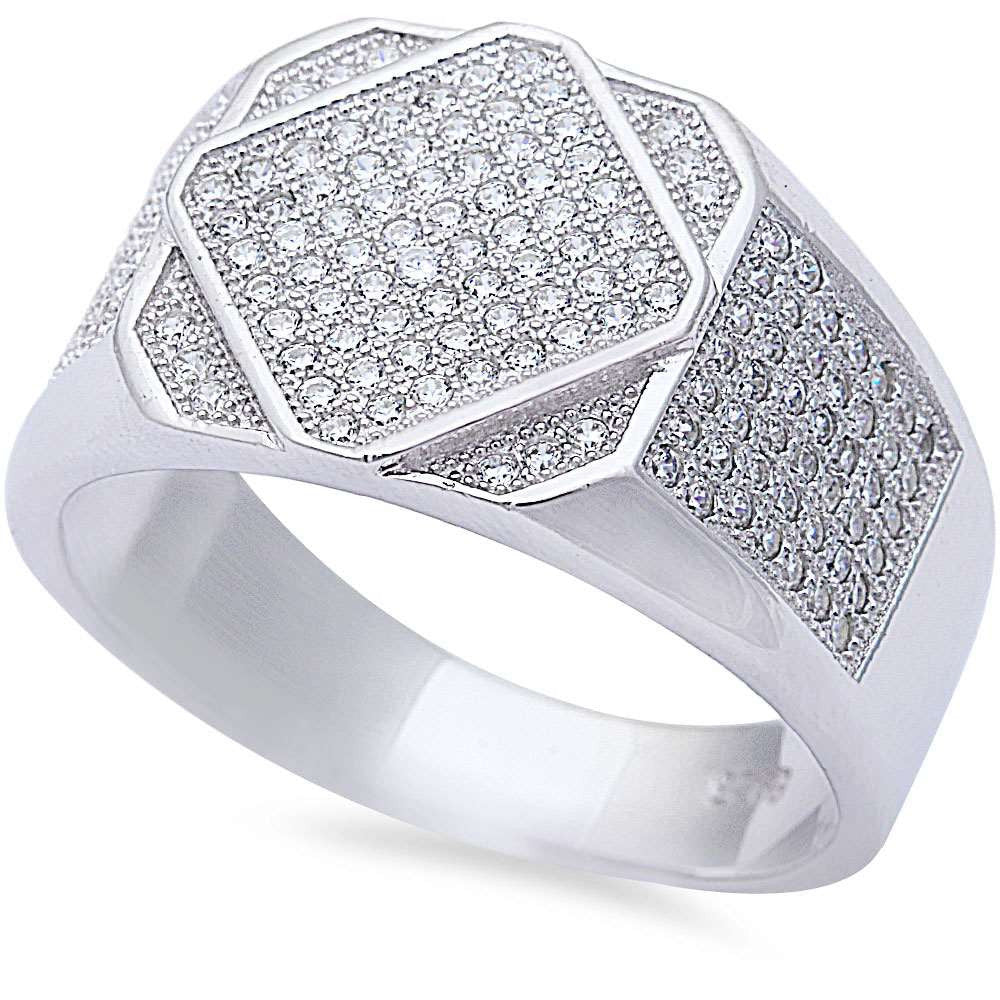 Men's Fine 1.50ct Pave Cz Hiphop Fashion .925 Sterling Silver Ring Sizes 8-11