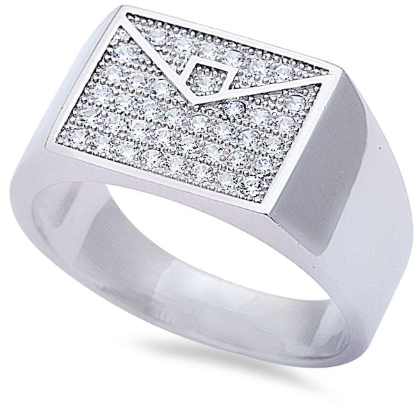Men's 1ct Pave Cz Hiphop Fashion .925 Sterling Silver Ring Sizes 8-11
