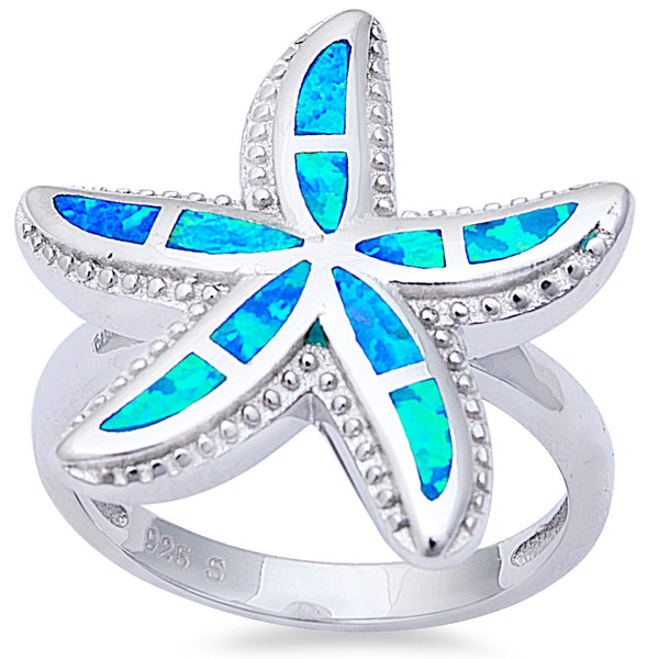 Blue Fire Opal Starfish .925 Sterling Silver Ring Sizes 6-9