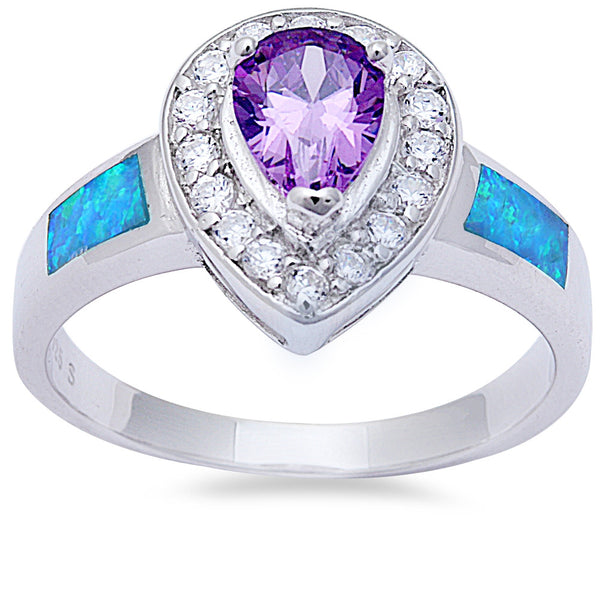 Pear Shape Amethyst, Cz, & Blue Opal .925 Sterling Silver Ring Sizes 6-9