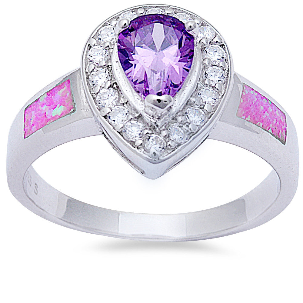 Pear Shape Amethyst, Cz, & Pink Opal .925 Sterling Silver Ring Sizes 6-9