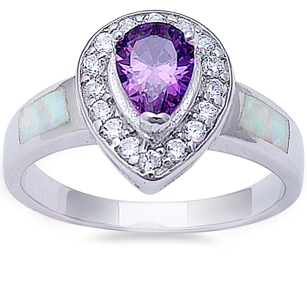 Pear Shape Amethyst, Cz, & White Opal .925 Sterling Silver Ring Sizes 6-9