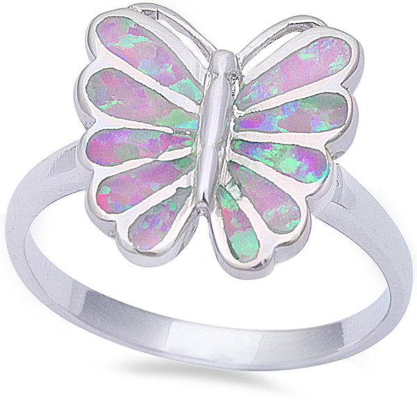 Pink Fire Opal Butterfly .925 Sterling Silver Ring Sizes 6-9