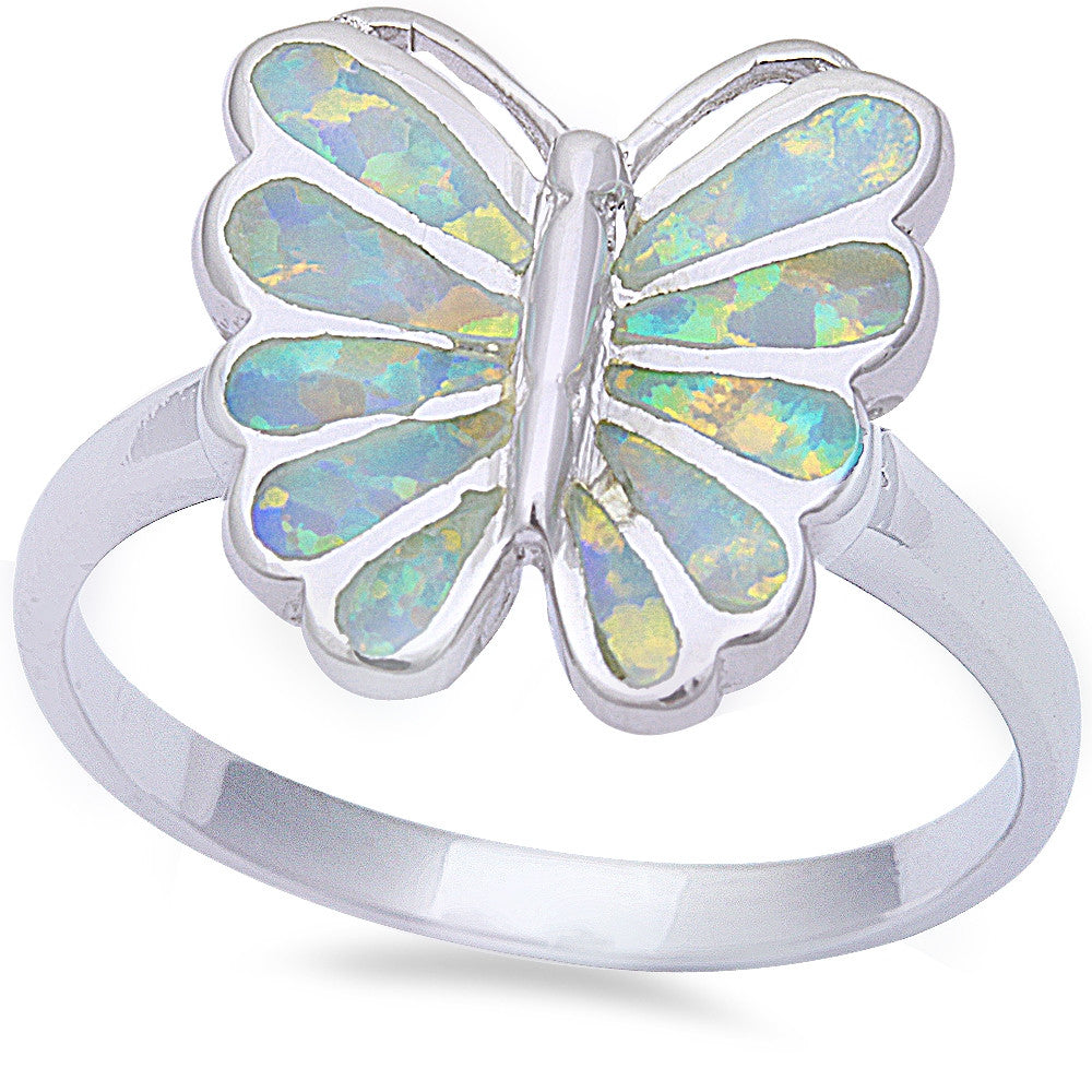 White Fire Opal Butterfly .925 Sterling Silver Ring Sizes 6-9