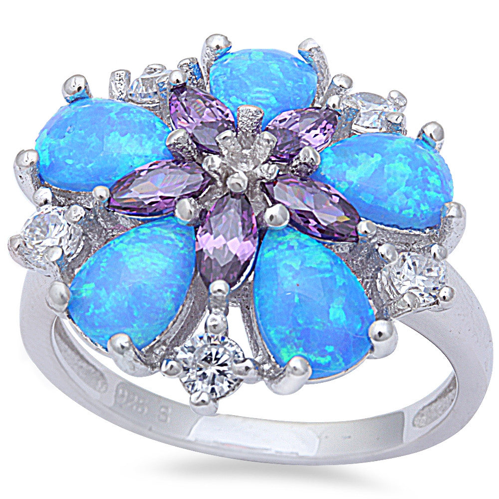 Blue Fire Opal, Amethyst, & Cz Flower .925 Sterling Silver Ring Sizes 6-9