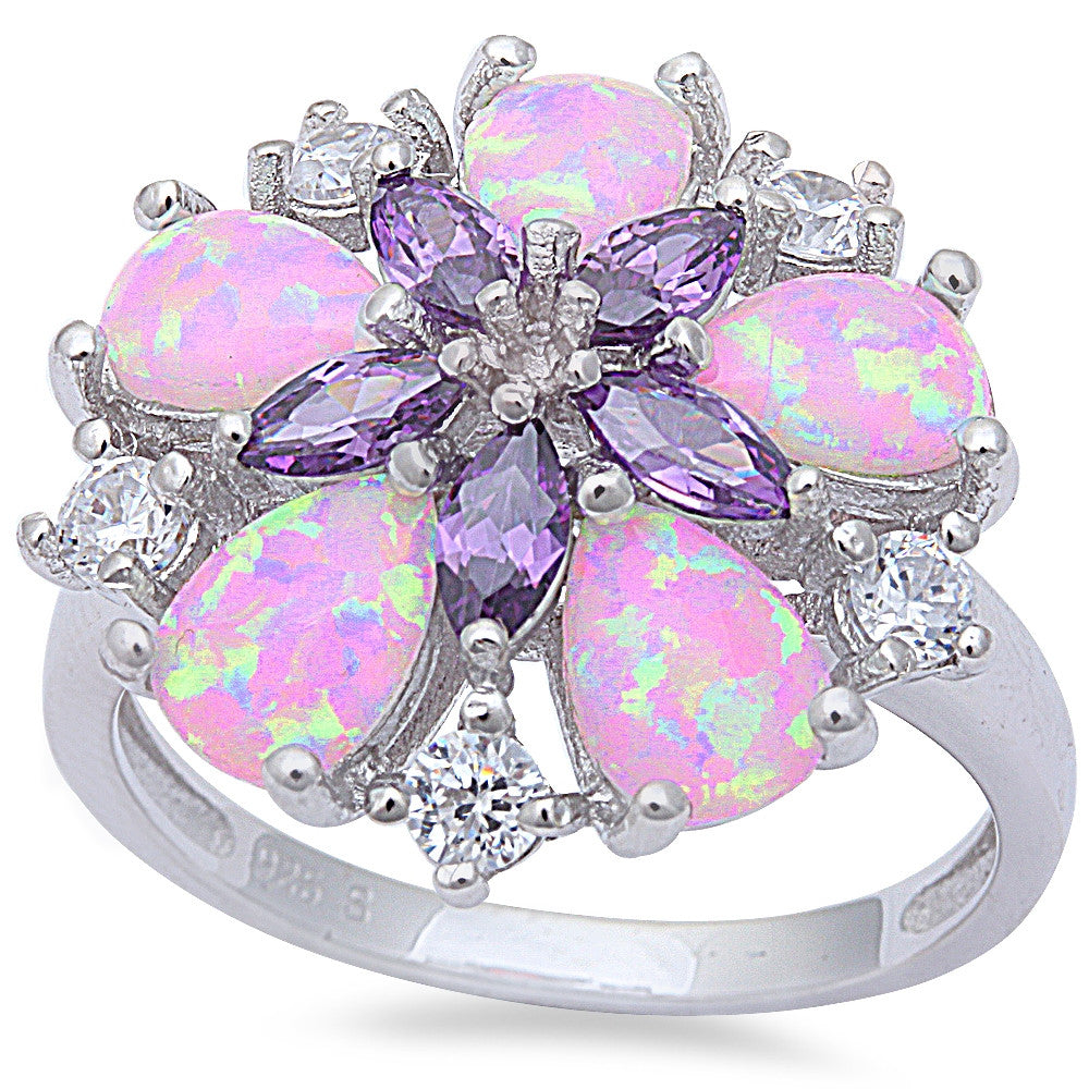 Pink Fire Opal, Amethyst, & Cz Flower .925 Sterling Silver Ring Sizes 6-9