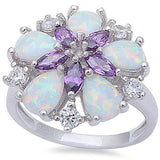 White Fire Opal, Amethyst, & Cz Flower .925 Sterling Silver Ring Sizes 6-9