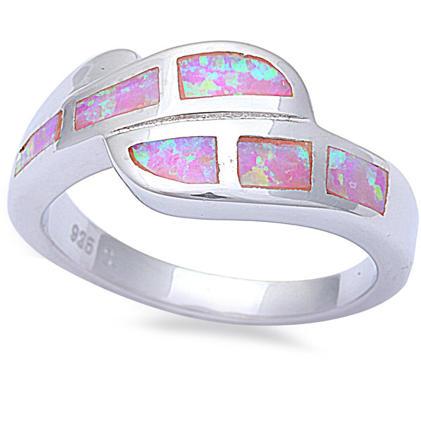 Pink Opal Fashion .925 Sterling Silver Ring Sizes 6-9