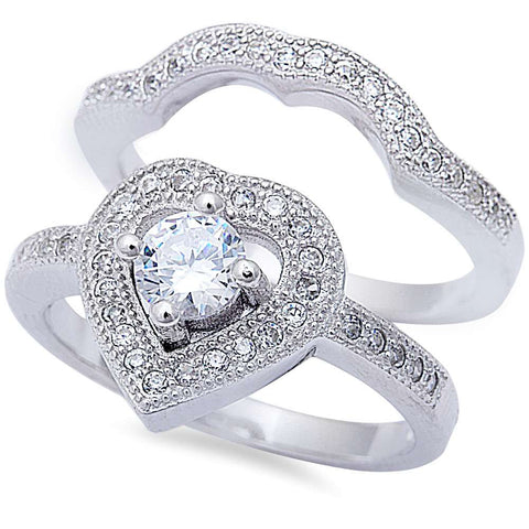 2CT Round & Heart Cz 2 Ring Engagement Set .925 Sterling Silver Ring Sizes 5-10