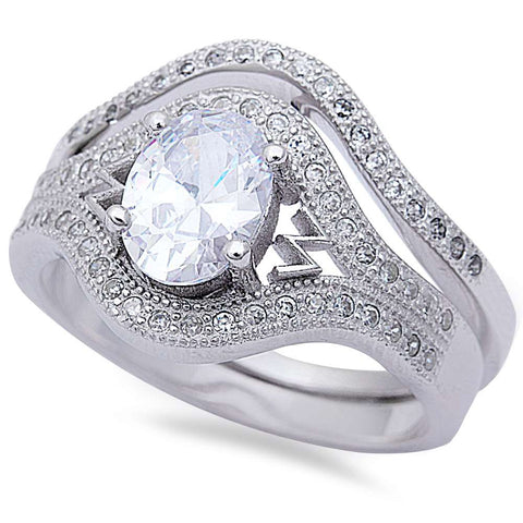 2CT Oval & Pave Cz 2 Ring Wedding Set .925 Sterling Silver Ring Sizes 5-10