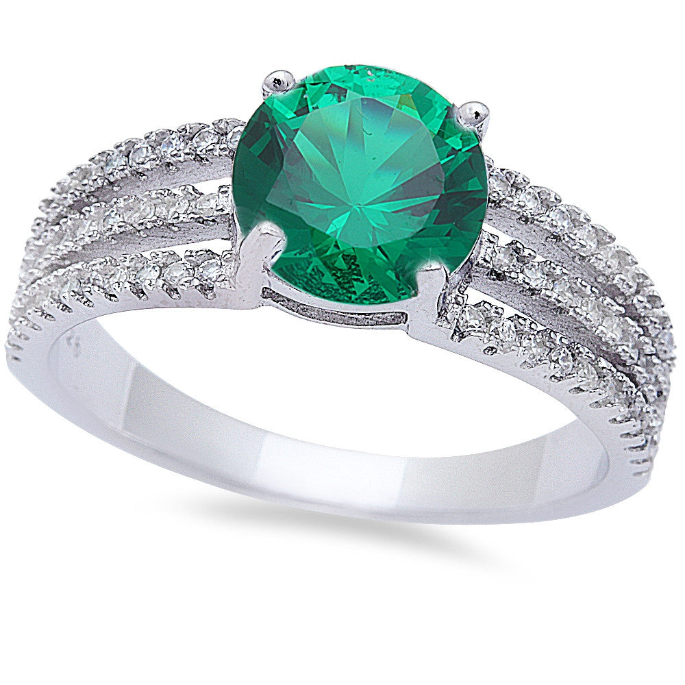 Round Emerald & Cz Fashion .925 Sterling Silver Ring Sizes 6-9