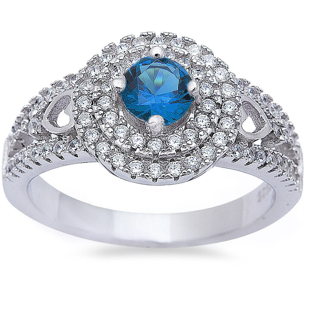 Halo Style Blue Sapphire & Cz High Fashion .925 Sterling Silver Ring Sizes 6-9