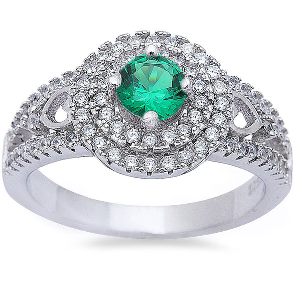Halo Style Emerald & Cz High Fashion .925 Sterling Silver Ring Sizes 6-9