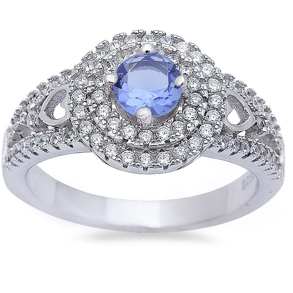 Halo Style Tanzanite & Cz High Fashion .925 Sterling Silver Ring Sizes 6-9