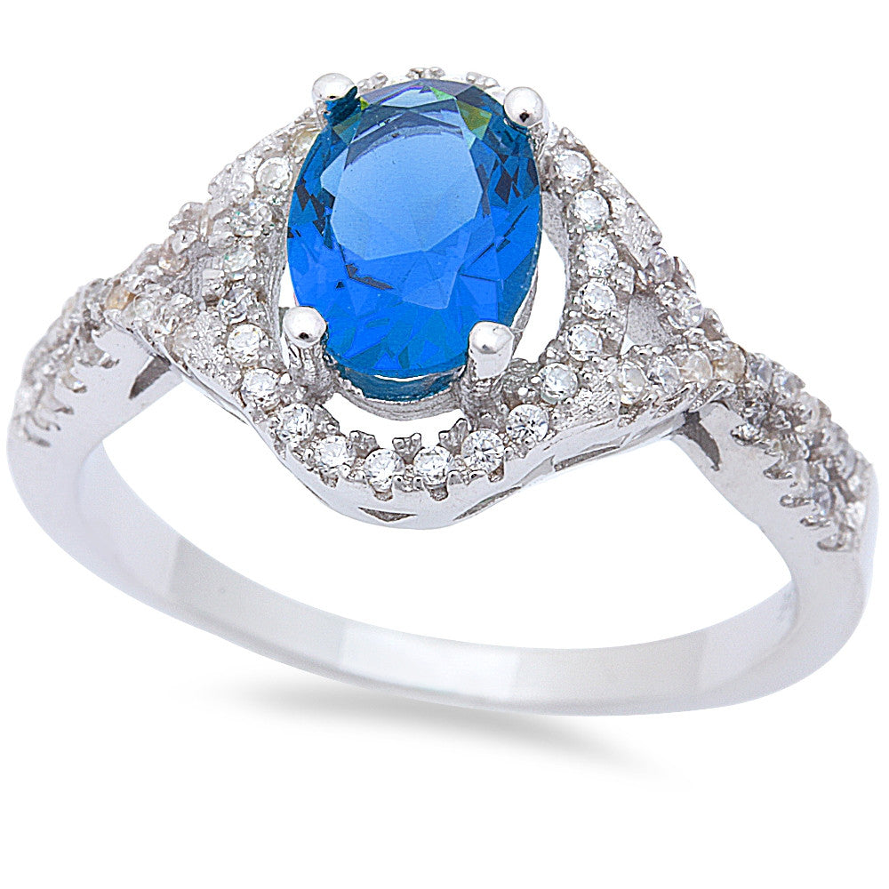 Oval Blue Sapphire & Cz .925 Sterling Silver Ring Sizes 6-9