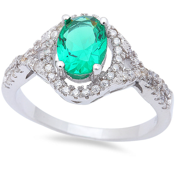 Oval Green Emerald & Cz .925 Sterling Silver Ring Sizes 6-9