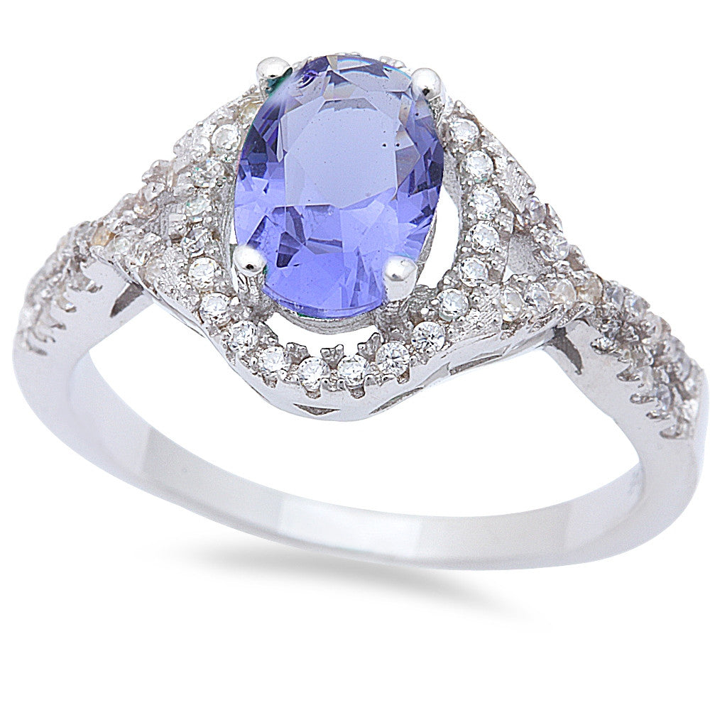 Oval Tanzanite & Cz .925 Sterling Silver Ring Sizes 6-9