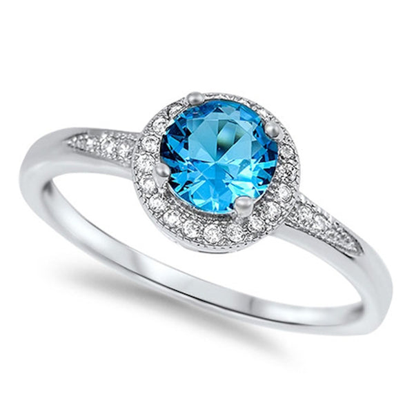 HALO Style SOLITAIRE Blue Topaz Promise Engagement Ring .925 Sterling Silver