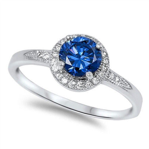 Halo Blue Sapphire & Cz Fashion .925 Sterling Silver Ring Sizes 4-9
