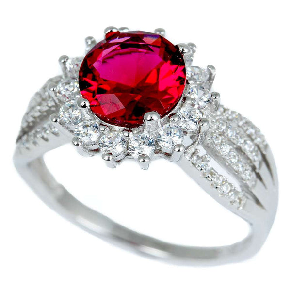 Halo Style Red Garnet & Cz Fashion .925 Sterling Silver Ring Sizes 5-10