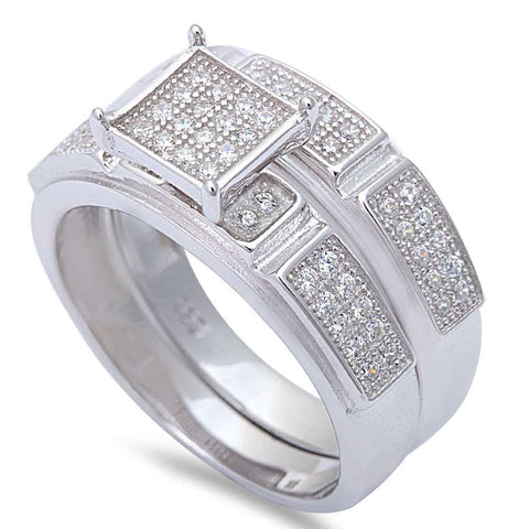1.25CT Micro Pave Cz Wedding Fashion Set .925 Sterling Silver Ring Sizes 6-9