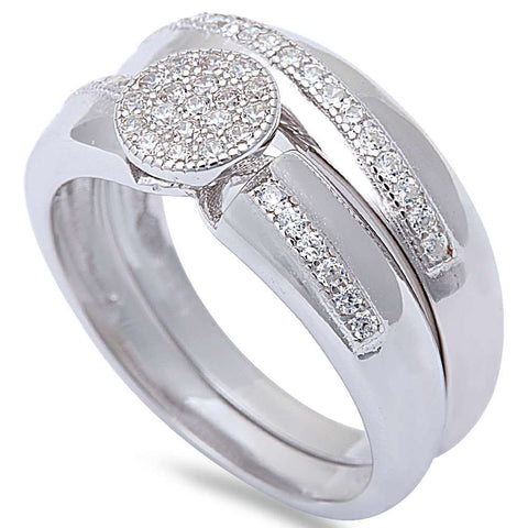 1CT Micro Pave Cz Wedding Engagement Set .925 Sterling Silver Ring Sizes 6-9