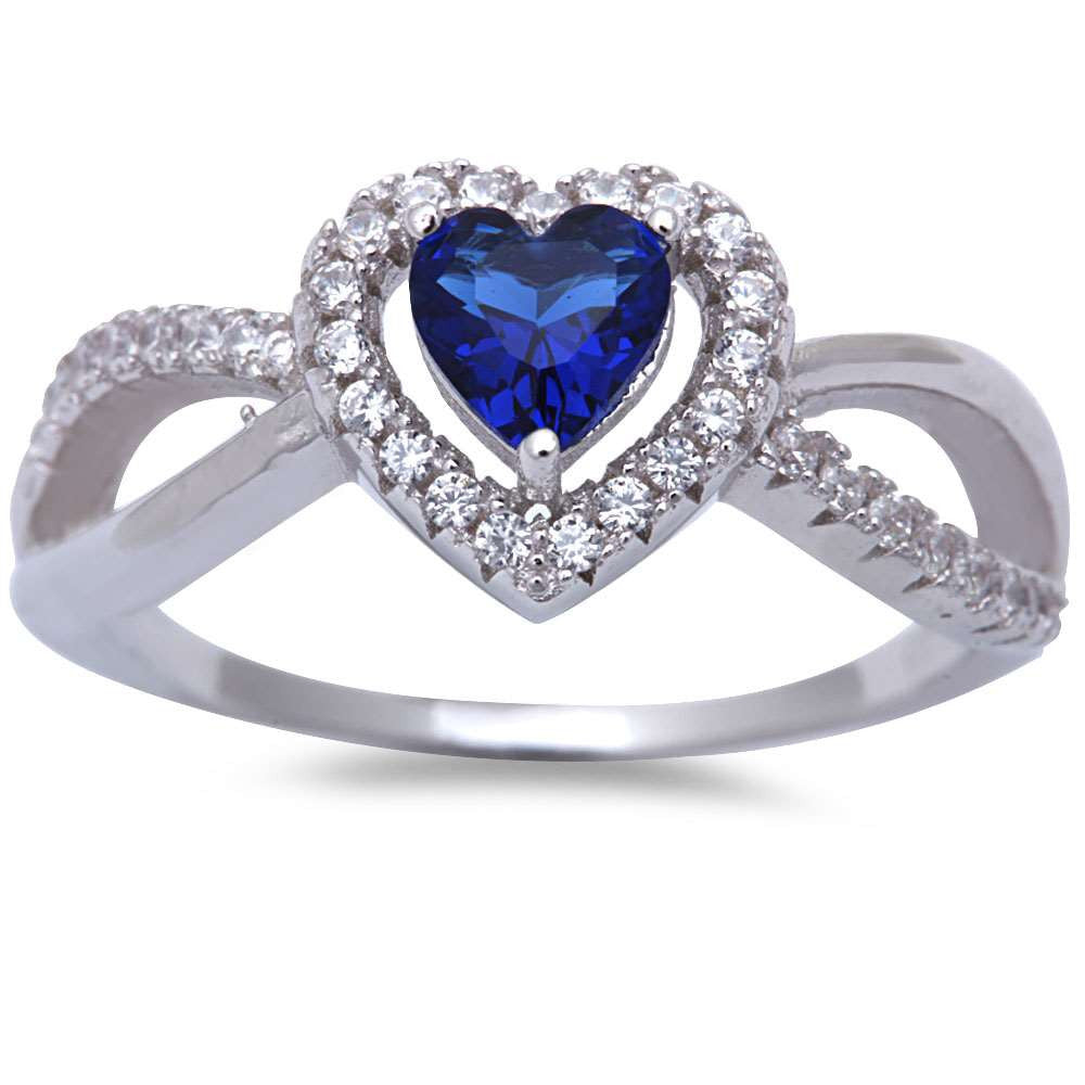 Blue Sapphire & Cz Heart .925 Sterling Silver Ring Sizes 5-9